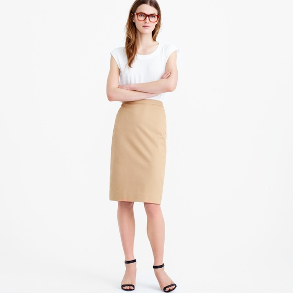 6978952d541f J. Crew Skirts | No 2 Pencil Skirt In Twoway Stretch Cotton Tan ...